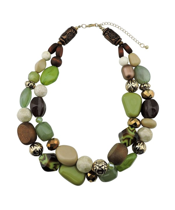 Statement Chunky Fashion Necklace NK 10384 olive