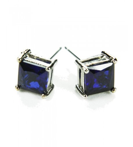 CZ Princess Stud Earrings Sapphire Colored Post