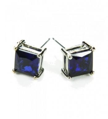 CZ Princess Stud Earrings Sapphire Colored Post