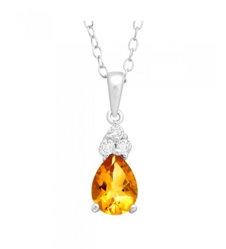 Natural Citrine Pendant Necklace Sterling
