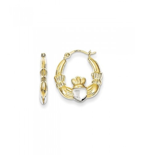 Gold Claddagh Earrings white yellow gold