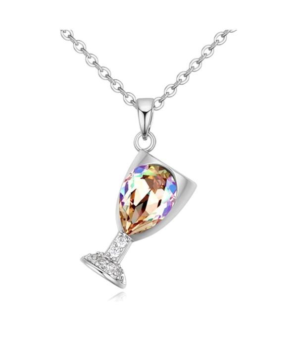 Austrian Crystal Wineglass Necklace Tanzanite