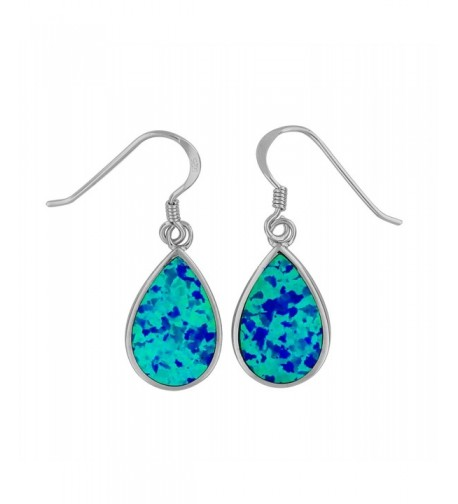 Sterling Silver Synthetic Teardrop Earrings
