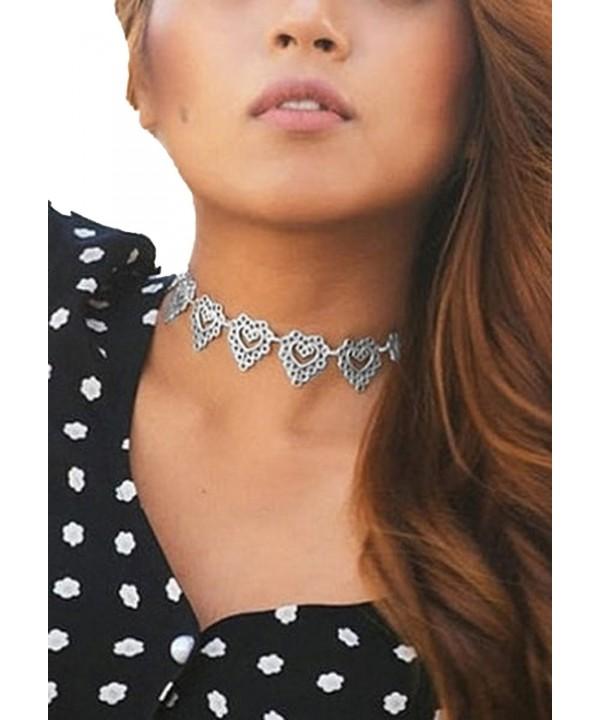 Womens Stylish Cutout Silver Choker