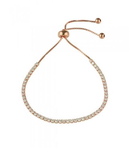 Adjustable Rose Plated CZ Bracelet