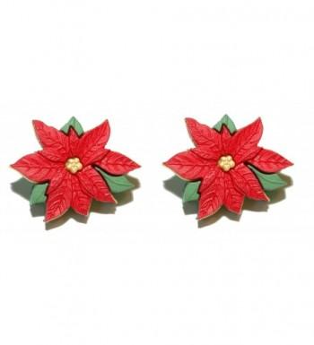 Beautiful Christmas Poinsettia Earrings H026