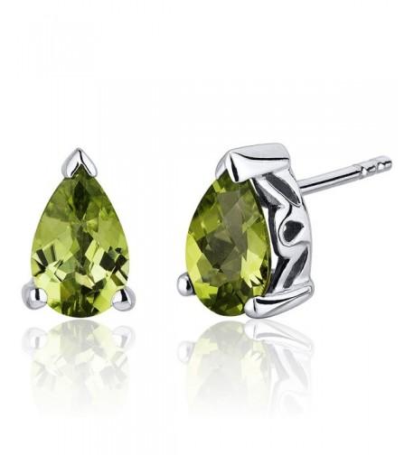 Carats Peridot Earrings Sterling Rhodium