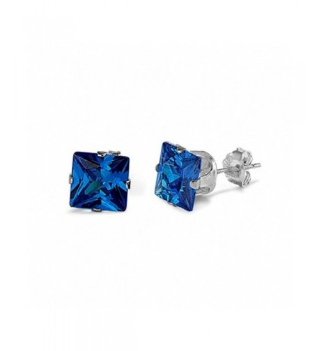 Solitaire Earrings Princess Simulated Blue