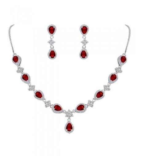 EleQueen Silver tone Zirconia Teardrop V Necklace