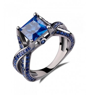 Princess Created Sapphire Engagement Sterling