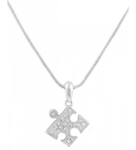 Silvertone Puzzle Pendant Necklace B 1686