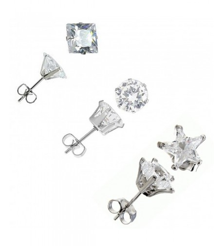 Stainless Steel Zirconia Earring SQUARE