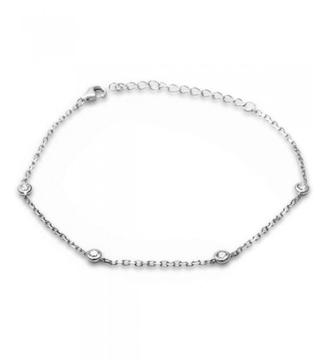 Sterling Silver Bezel Zirconia Bracelet