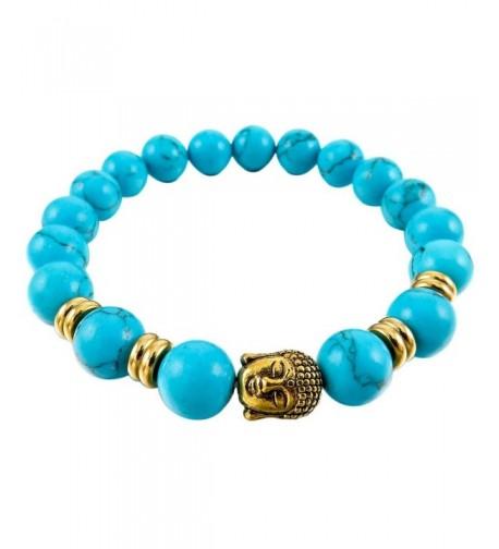 INBLUE Bracelet Simulated Turquoise Elastic