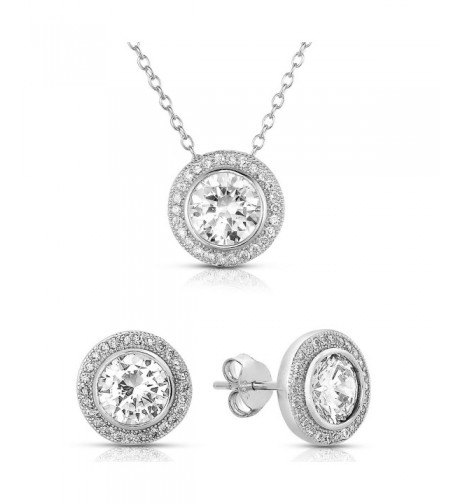 Sterling Zirconia Earrings Pendant Necklace