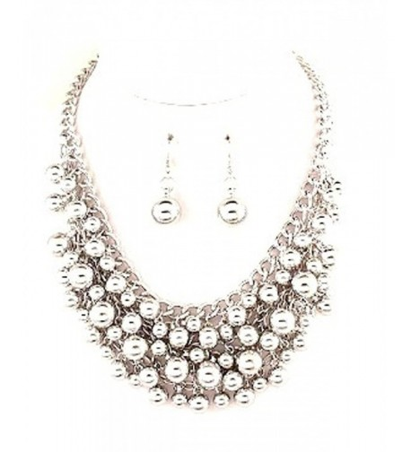 Silvertone Multilayered Chainmaille Necklace Earring