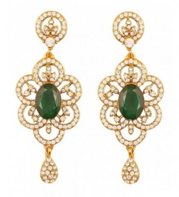 Touchstone Bollywood Rhinestone designer earrings