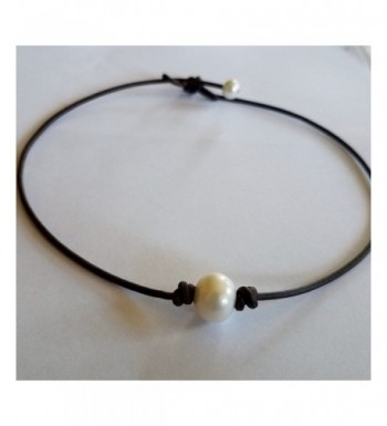 Freshwater Pearl Leather Choker Necklace