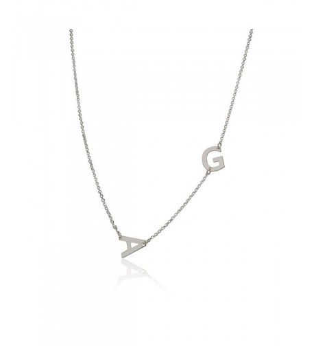 Sideways Initial Necklace Pendant Personalized