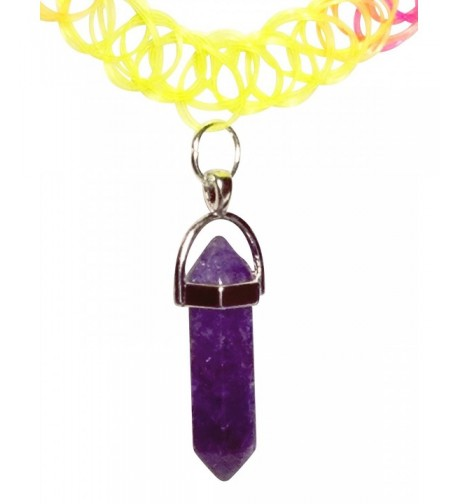 Purple Crystal Rainbow Stretch Necklace
