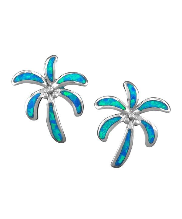 Sterling Silver Synthetic Blue Earrings