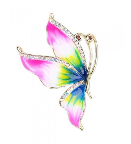EVER FAITH Butterfly Multicolor Gold Tone