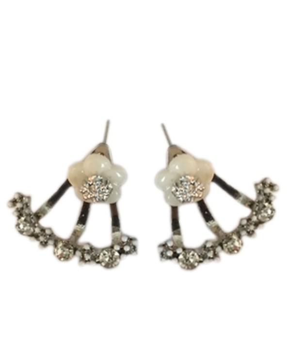 Flower Earring Jackets Silver