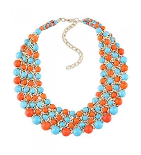 Imitation Turquoise Weaving Multicolor Necklace