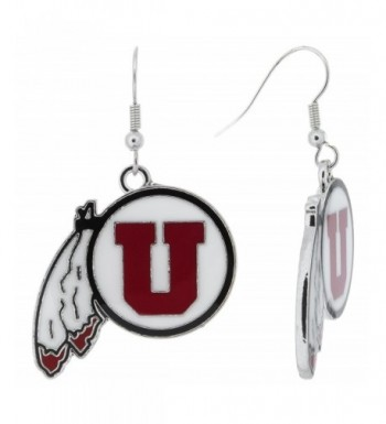 University Feathered Earrings White Enamel