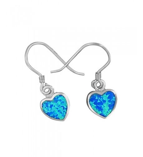 Sterling Silver Synthetic Dangle Earrings