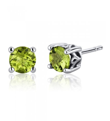 Scroll Peridot Earrings Sterling Rhodium