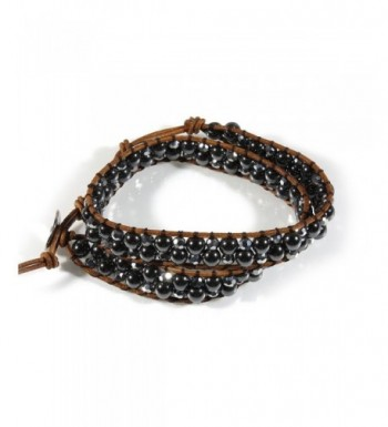 Hematite Glass Rolling Leather Bracelet