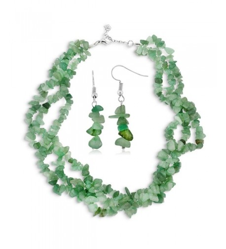 Strands Stone Aventurine Necklace Earrings