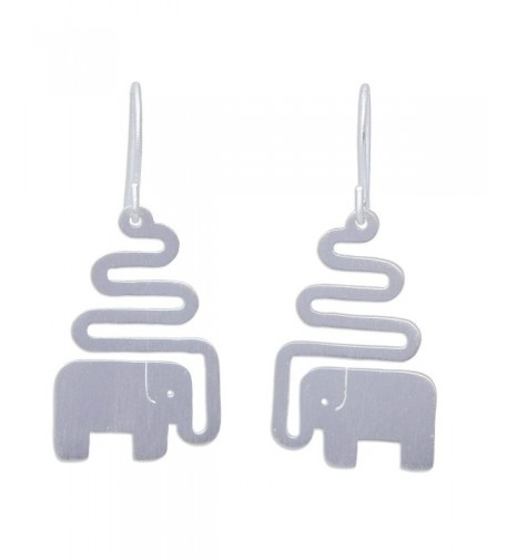 NOVICA Sterling Earrings Trumpeting Elephant