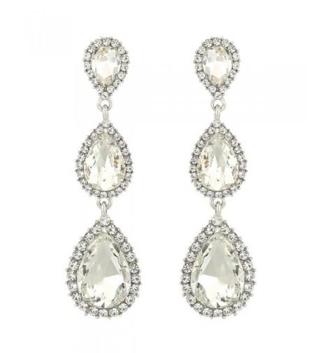 EleQueen Silver tone Austrian Crystal Earrings