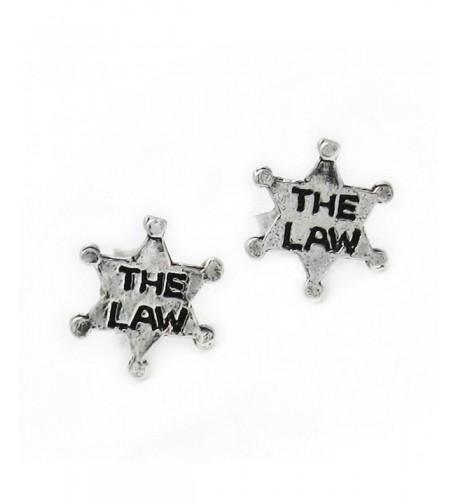 Sterling Silver Sheriff Badge Earrings