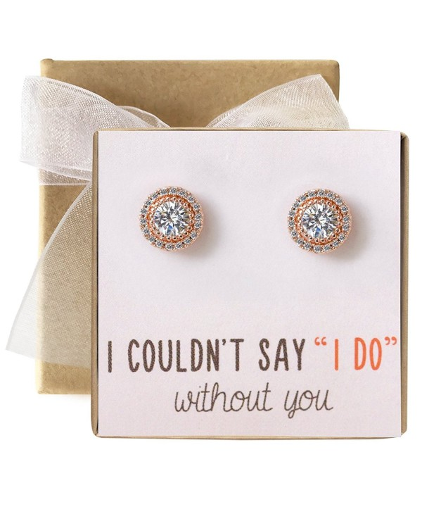 Bridesmaid Earrings Studs Zirconia Silver
