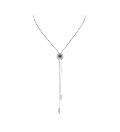 Chain Slide Necklace Zircon Pendant Grey
