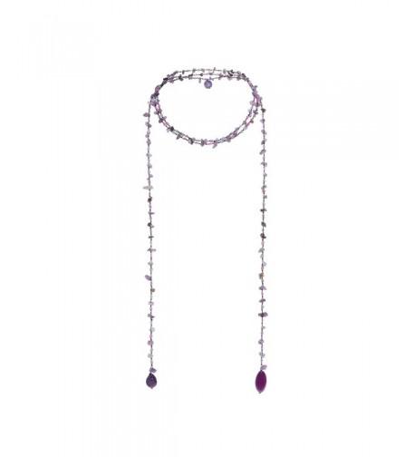 Sparkling Purple Quartz Reconstructed Lariat Necklace