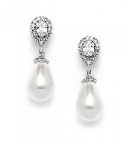 Mariell Pear Shaped Zirconia Wedding Earrings