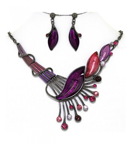 AnsonsImages Purple Rhinestone Necklace Earrings