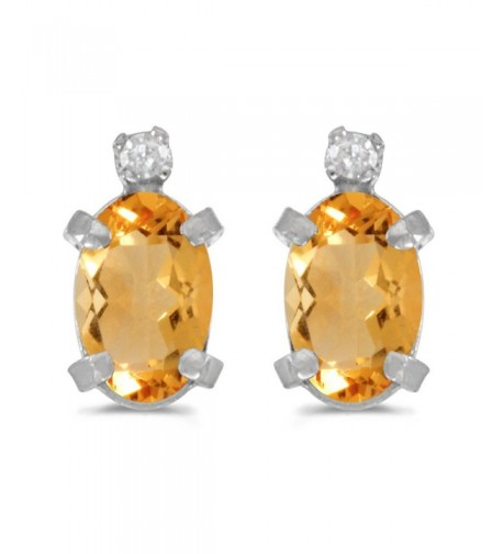 Sterling Silver Citrine Diamond Earrings