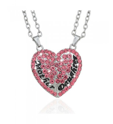 Split Pink Heart Pendant Necklace
