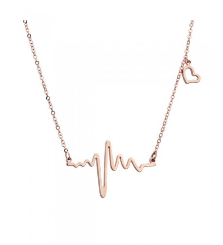 ELBLUVF Plated Stainless steel Cardiogram Necklace
