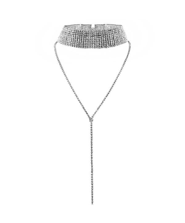 MJARTORIA Womens Silver Rhinestone Necklace