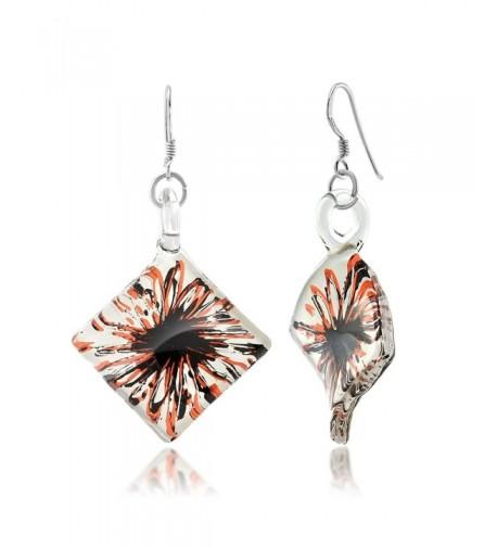 Sterling Silver Painted Murano Earrings