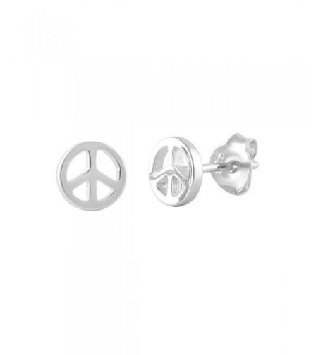 Peace Sign Earrings Sterling Silver