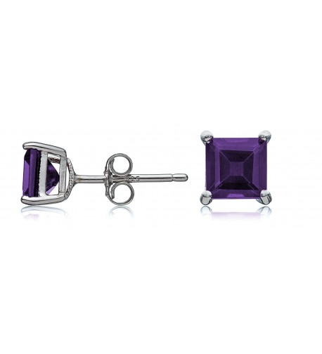 Sterling Silver Amethyst Square Earrings