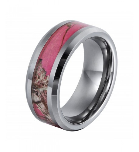 Will Queen TU 8 113 8mm Flowering Pink Tungsten Ring 4mm Width of Camo Inlay White Wedding Bands 6 5