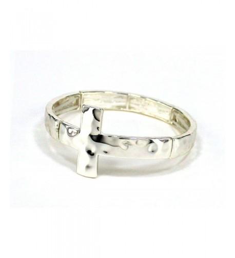 Sideways Silver Cross Stretch Bracelet